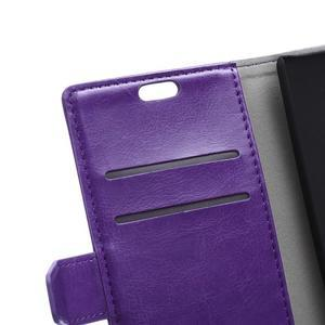Horse peněženkové koženkové pouzdro na Huawei Honor 5X - fialové - 7