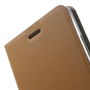 Peňaženkové PU kožené puzdro pre mobil Honor 5X - hnedé - 7