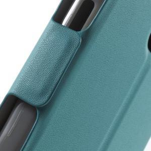 Peňaženkové PU kožené puzdro pre mobil Honor 5X - modré - 7