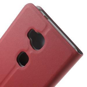 Peňaženkové PU kožené puzdro pre mobil Honor 5X - červené - 7