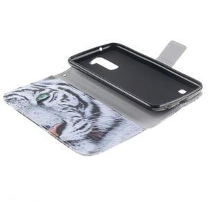 Peněženkové pouzdro na mobil LG K10 - bílý tygr - 7