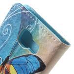 Peňaženkové puzdro na mobil Samsung Galaxy A3 (2016) - modrý motýl - 7/7