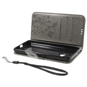 Butterfly peňaženkové puzdro na Microsoft Lumia 535 - šedé - 7