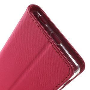 Wall PU kožené puzdro pre mobil Sony Xperia M5 - rose - 7