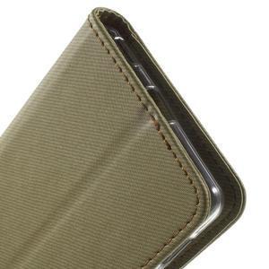 Wall PU kožené puzdro pre mobil Sony Xperia M5 - khaki - 7