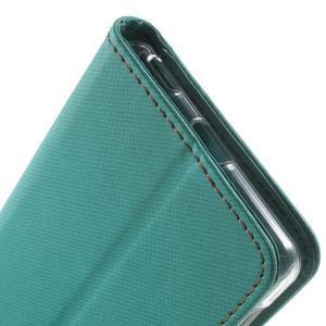 Wall PU kožené puzdro pre mobil Sony Xperia M5 - zelenomodré - 7