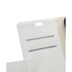 Peněženkové pouzdro s texturou krokodýlí kůže na Sony Xperia M5 - bílé - 7