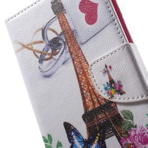 Stand Peňaženkové puzdro pre Sony Xperia M5 - ruže s Eiffelovou vežaí - 7