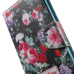 Stand Peňaženkové puzdro pre Sony Xperia M5 - kvitnúce ruže - 7