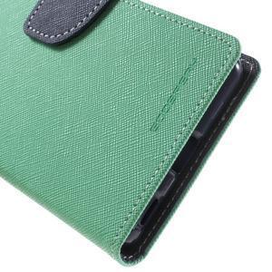 Goos PU kožené peňaženkové puzdro pre Sony Xperia M5 - cyan - 7