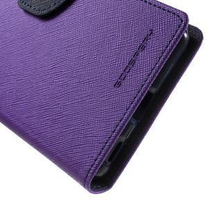 Goos PU kožené peňaženkové puzdro pre Sony Xperia M5 - fialové - 7