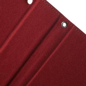 Canvas PU kožené / textilné puzdro pre Sony Xperia M5 - červené - 7