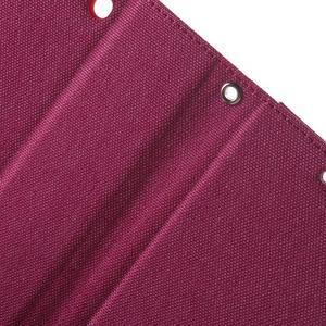 Canvas PU kožené / textilné puzdro pre Sony Xperia M5 - rose - 7