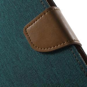 Canvas PU kožené / textilní pouzdro na Sony Xperia M5 - zelenomodré - 7