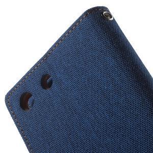 Canvas PU kožené / textilní pouzdro na Sony Xperia M5 - modré - 7