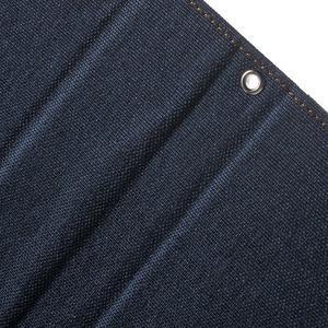 Canvas PU kožené / textilní pouzdro na Sony Xperia M5 - tmavěmodré - 7