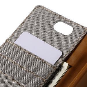Canvas PU kožené/textilné puzdro pre Asus Zenfone Selfie ZD551KL - šedé - 7