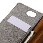 Canvas PU kožené/textilné puzdro pre Asus Zenfone Selfie ZD551KL - šedé - 7/7