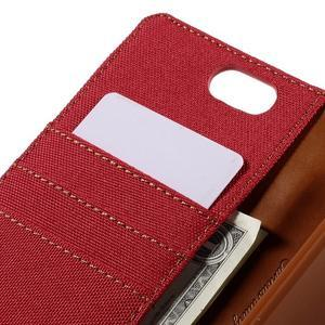 Canvas PU kožené/textilné puzdro pre Asus Zenfone Selfie ZD551KL - červené - 7