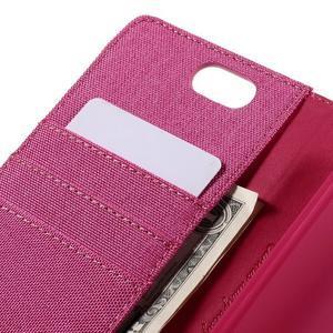 Canvas PU kožené/textilné puzdro pre Asus Zenfone Selfie ZD551KL - rose - 7