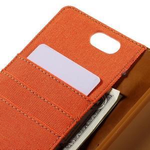Canvas PU kožené/textilní puzdro na Asus Zenfone Selfie ZD551KL - oranžové - 7
