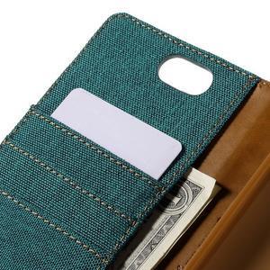 Canvas PU kožené/textilní puzdro na Asus Zenfone Selfie ZD551KL - zelenomodré - 7