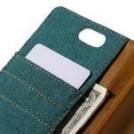 Canvas PU kožené/textilné puzdro pre Asus Zenfone Selfie ZD551KL - zelenomodré - 7/7
