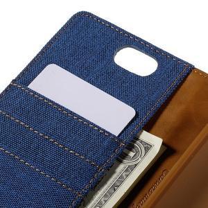 Canvas PU kožené/textilné puzdro pre Asus Zenfone Selfie ZD551KL - modré - 7