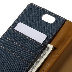 Canvas PU kožené/textilné puzdro pre Asus Zenfone Selfie ZD551KL - tmavo modré - 7