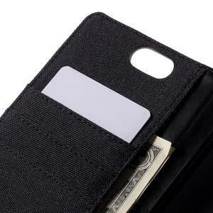 Canvas PU kožené/textilní puzdro na Asus Zenfone Selfie ZD551KL - čierné - 7