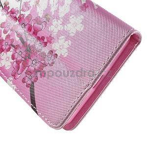 Peňaženkové PU kožené puzdro na Huawei Ascend P8 Lite - kvitnúca vetvička - 7
