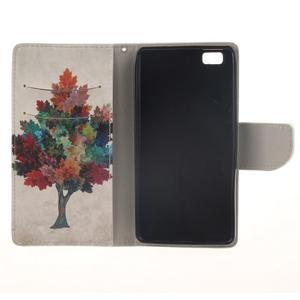 Leathy PU kožené puzdro na Huawei P8 Lite - farebný strom - 7