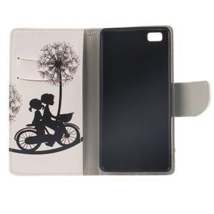Leathy PU kožené puzdro na Huawei P8 Lite - láska na bicykli - 7
