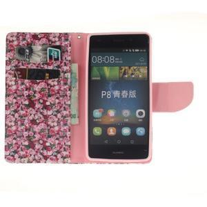 Leathy PU kožené puzdro na Huawei P8 Lite - ruže - 7