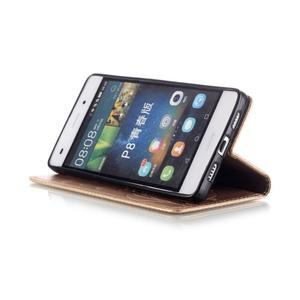 Magicfly PU kožené pouzdro na Huawei P8 Lite - zlaté - 7