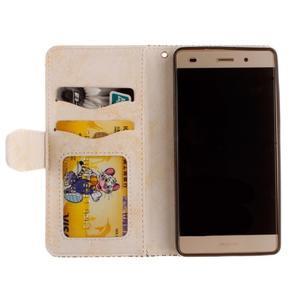 Mandala PU kožené puzdro na mobil Huawei P8 Lite - béžové - 7