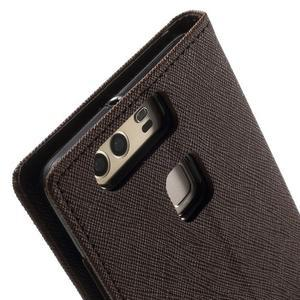 Diary PU kožené pouzdro na mobil Huawei P9 - hnědé - 7