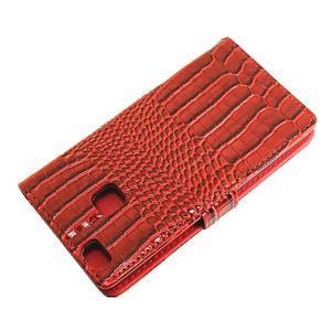 Croco peněženkové pouzdro na mobil Huawei P9 Lite - červené - 7