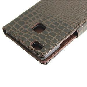 Croco peněženkové pouzdro na mobil Huawei P9 Lite - hnedé - 7