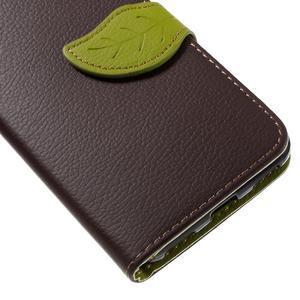 Leaf PU kožené pouzdro na mobil Huawei Y6 - hnědé - 7