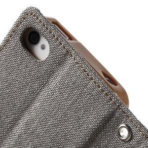 Canvas PU kožené/textilní pouzdro na iPhone 4 - šedé - 7