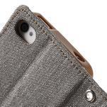 Canvas PU kožené/textilné puzdro pre iPhone 4 - sivé - 7/7