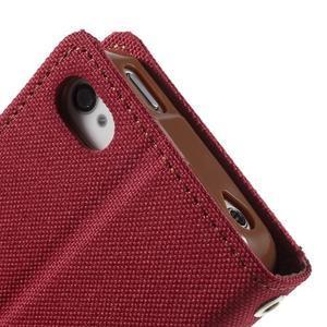 Canvas PU kožené/textilní pouzdro na iPhone 4 - červené - 7