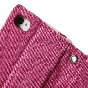 Canvas PU kožené/textilní pouzdro na iPhone 4 - rose - 7