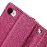 Canvas PU kožené/textilné puzdro pre iPhone 4 - rose - 7/7