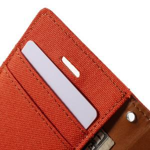 Canvas PU kožené/textilné puzdro pre iPhone 4 - oranžové - 7