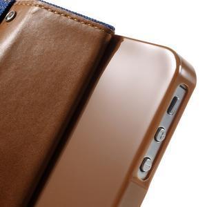 Canvas PU kožené/textilné puzdro pre iPhone 4 - modré - 7