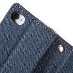 Canvas PU kožené/textilné puzdro pre iPhone 4 - tmavomodré - 7/7