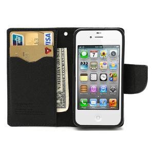 Fancys PU kožené puzdro pre iPhone 4 - čierne - 7