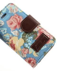 Elegantné PU kožené puzdro pre iPhone 4 - modré pozadí - 7